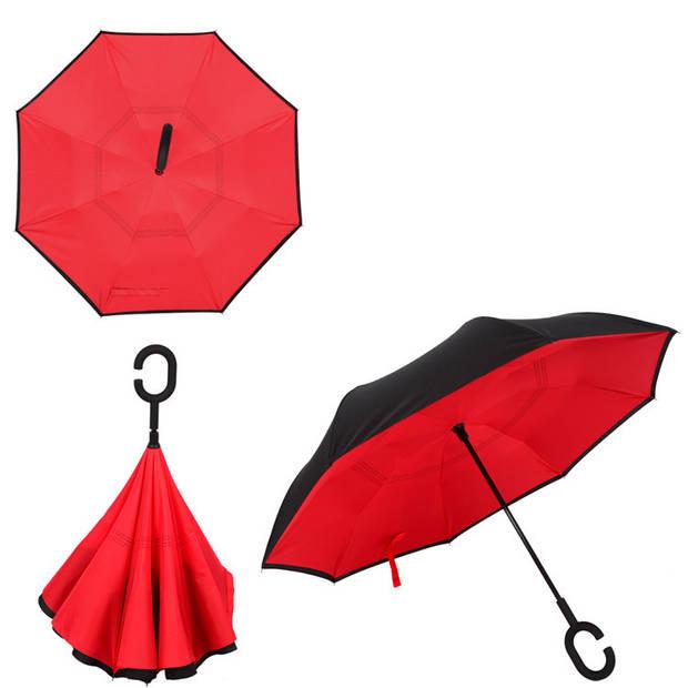 Dubbellaagse Omkeerbare Paraplu - Effen - Rood
