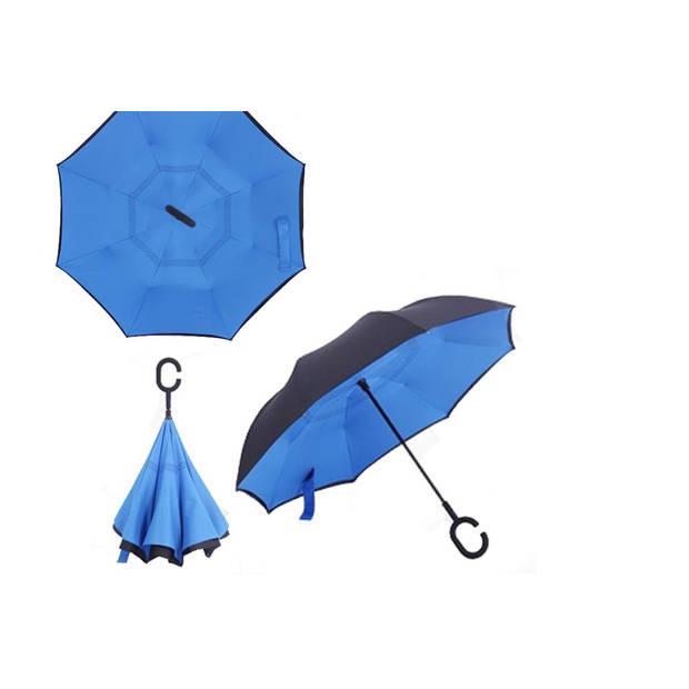 Dubbellaagse Omkeerbare Paraplu - Effen - Blauw