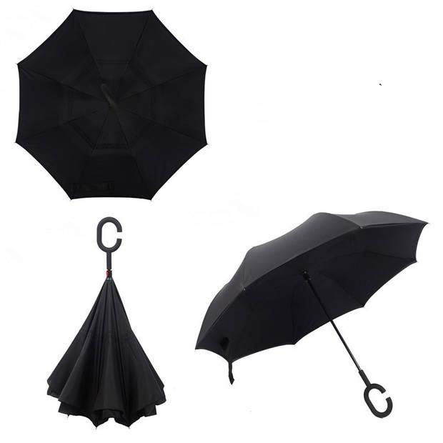 Dubbellaagse Omkeerbare Paraplu - Effen - Zwart