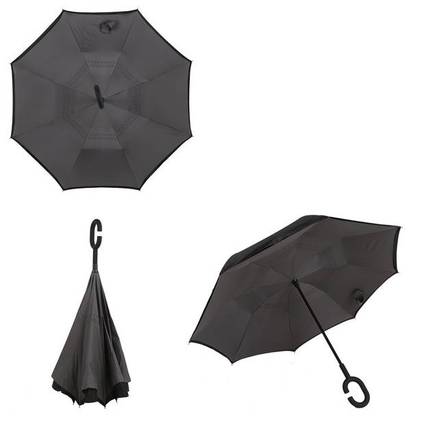 Dubbellaagse Omkeerbare Paraplu - Effen - Grijs