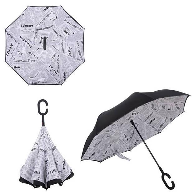 Dubbellaagse Omkeerbare Paraplu - Print - Grijs