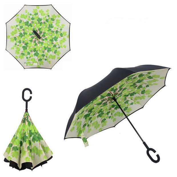Dubbellaagse Omkeerbare Paraplu - Print - Groen