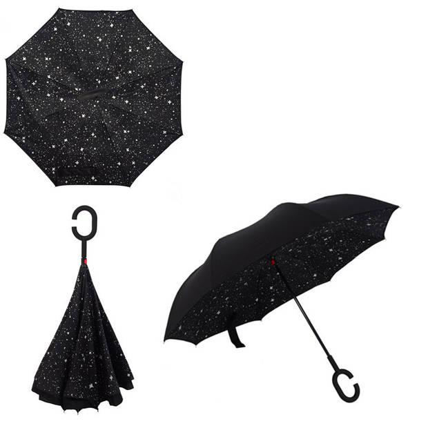 Dubbellaagse Omkeerbare Paraplu - Print - Zwart