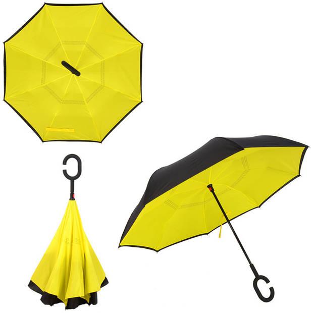 Dubbellaagse Omkeerbare Paraplu - Effen - Geel