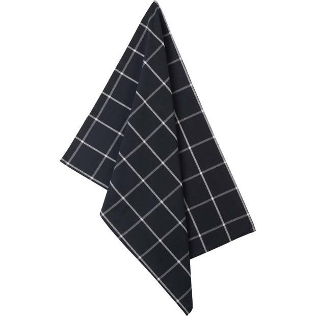 Blokker theedoek blok - zwart/wit - 50 x 70 cm