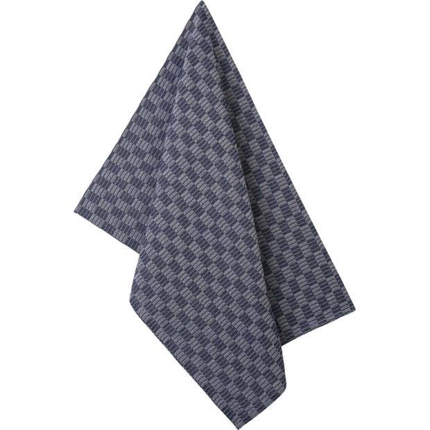Blokker theedoek rechthoekige blokken - blauw - 50 x 70 cm