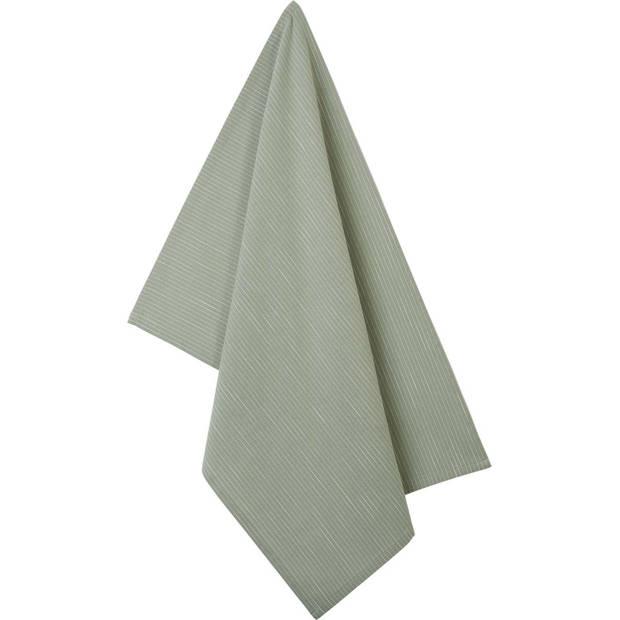 Blokker theedoek strepen - groen/wit - 50 x 70 cm