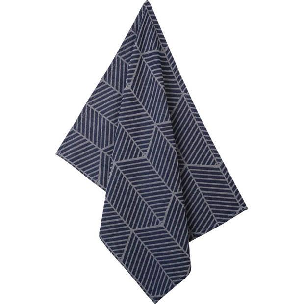 Blokker theedoek geometrisch - blauw - 50 x 70 cm