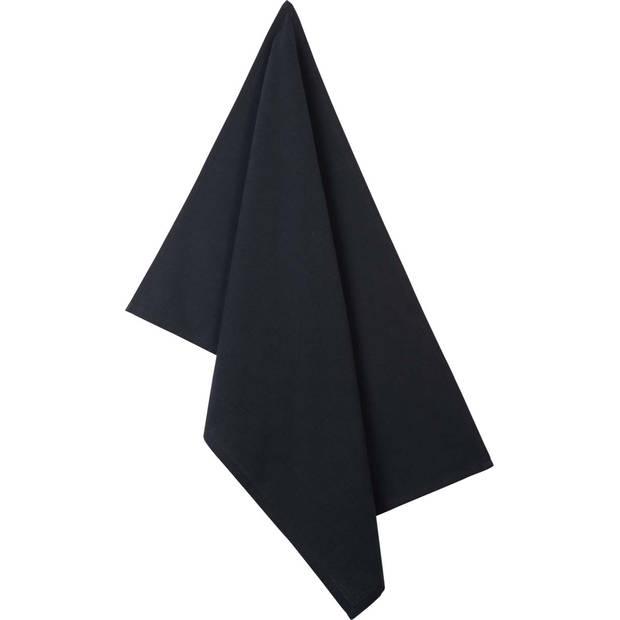 Blokker theedoek kubus uni - zwart - 50 x 70 cm