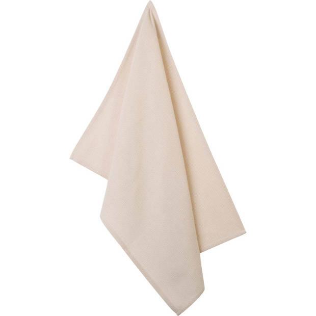 Blokker theedoek lijnen - beige - 50 x 70 cm