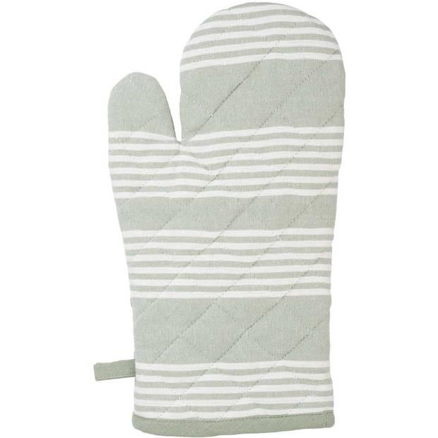 Blokker ovenwant strepen - groen/wit