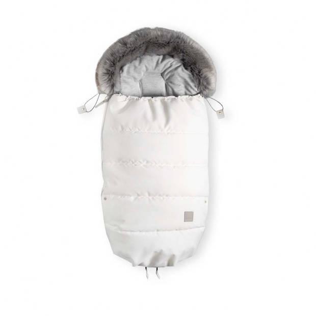 Voetenzak - slaapzak Oeko tex dons - met (imitatie) bont voor kinderwagen of buggy - 110cm - Creme wit