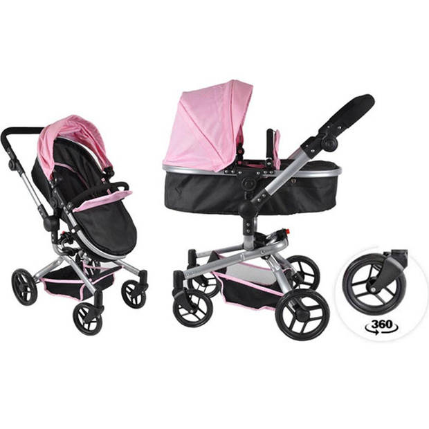 Bandits and Angels - Poppenwagen Black Angel 2in1 softpink
