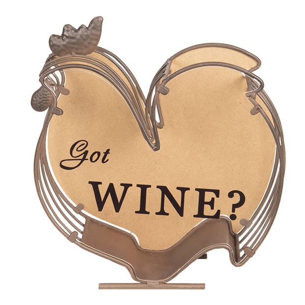 Clayre & Eef - wijnkurk houder 23*9*26 cm - chocola - hout/ metaal - rechthoekig - kip - 64293