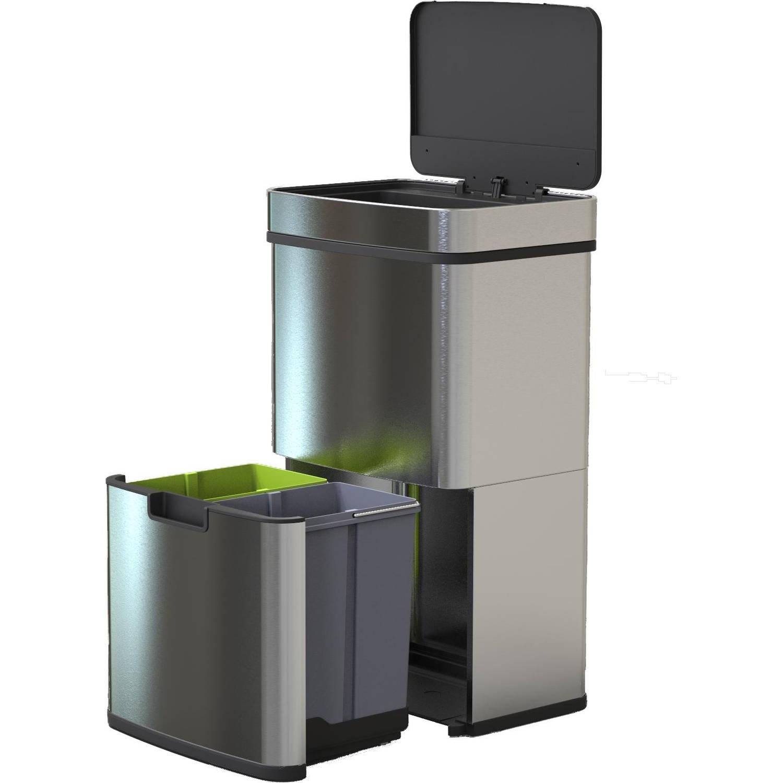 4cookz® Smart Waste Rvs Afvalscheidingsprullenbak Met Sensor - 72 Liter
