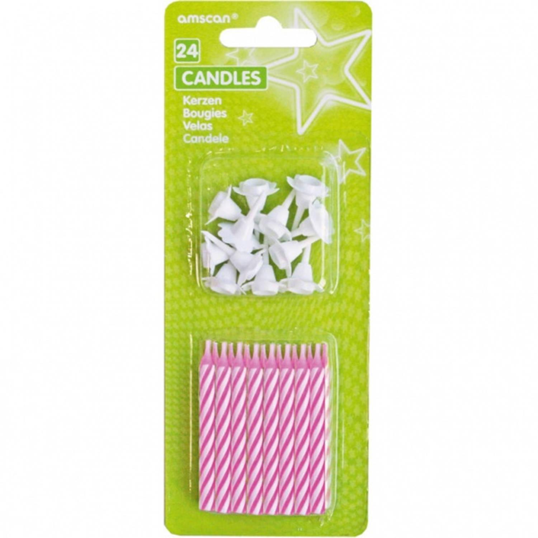 Korting Amscan Verjaardagskaarsjes 6,3 Cm Pink Stripes 36 delig