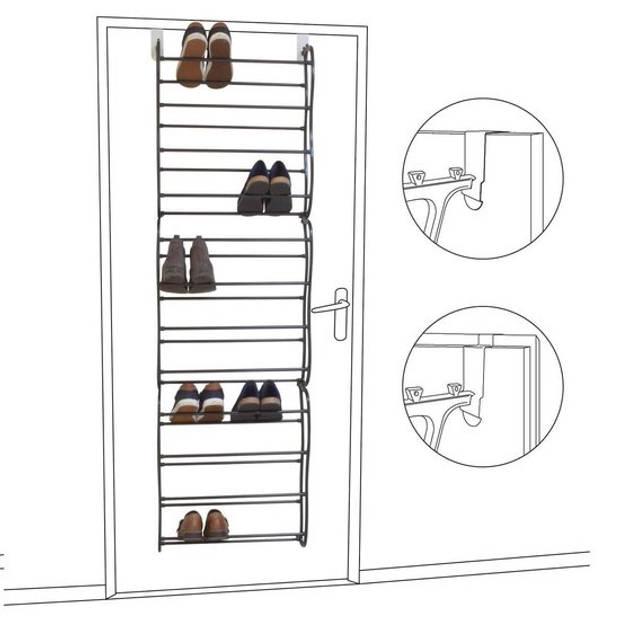 O'DADDY hangend schoenenrek deur - metaal met kunststof - zwart - 20x51x182cm