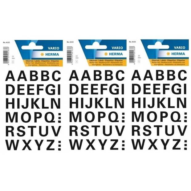 96x Letter stickers zwart 15 mm - Stickervel met alfabet letters zwart 96 stuks - Alfabet plakstickers 15mm