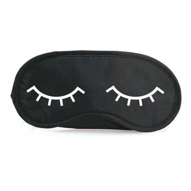 Slaapmasker met slapende oogjes zwart/wit inclusief roze oordopjes - one size - slaapmaskertje / oogmasker