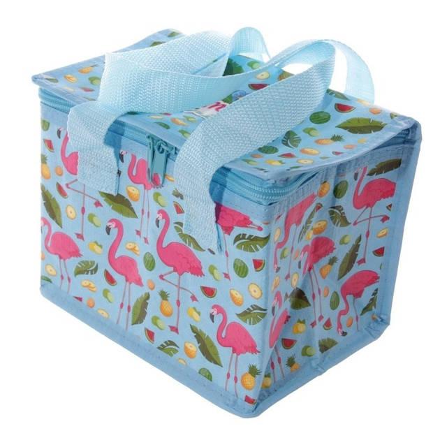 Kleine koeltas flamingo print blauw 20,5 cm 4 liter - Koelboxen/koeltassen - Lunchtrommel/lunchtas