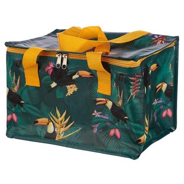 Koeltas toekan/tropische print groen 29 cm 12 liter - Koelboxen/koeltassen - Picknick/strand