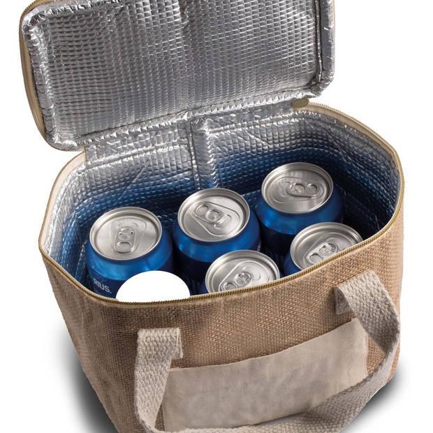 Kleine koeltas jute/canvas naturel 20 cm - 5 liter - Koelboxen/koeltassen - Lunchtrommel/lunchtas