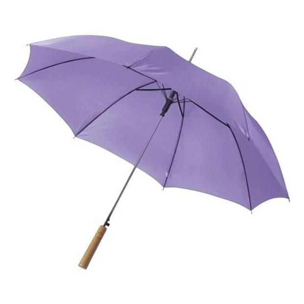 Automatische paraplu 102 cm doorsnede in het paars - grote paraplu met houten handvat