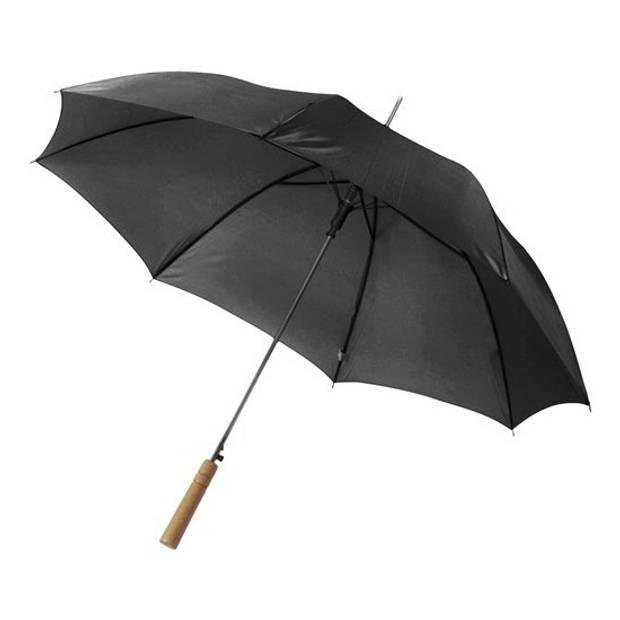 Automatische paraplu 102 cm doorsnede in het zwart - grote paraplu met houten handvat
