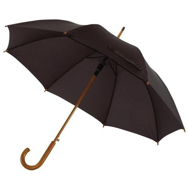 Zwarte luxe paraplu met houten handvat in haakvorm 103 cm - Paraplu - Regen
