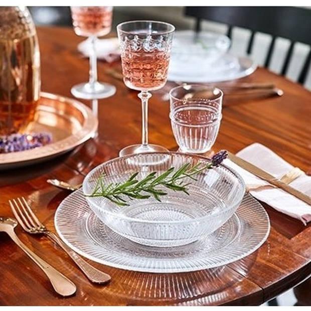 2x Salade schalen/slakommen van glas met relief 26 cm - Schalen en kommen - Keuken accessoires