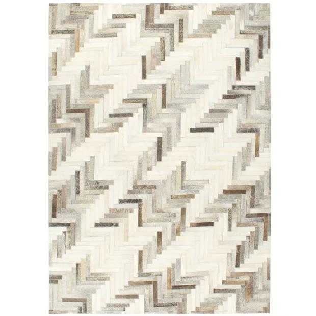 vidaXL Vloerkleed patchwork 120x170 cm echt harig leer grijs/wit
