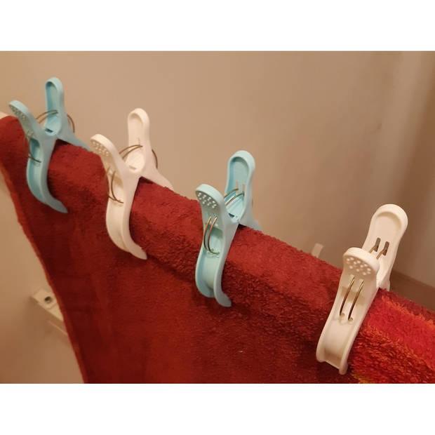 Grote plastic handdoeken/badlaken knijpers 4 stuks - outdoor en vakantie zomerartikelen