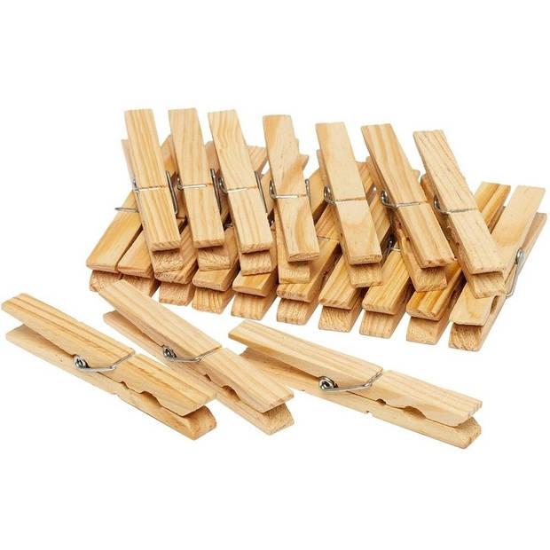 Houten wasknijpers - 60 stuks - voordelige knijpers / wasspelden