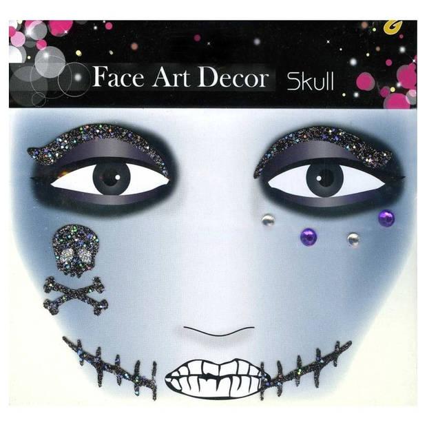 Doodshoofd en litteken glitter schmink sticker skull - halloween - glitter stickers voor het gezicht