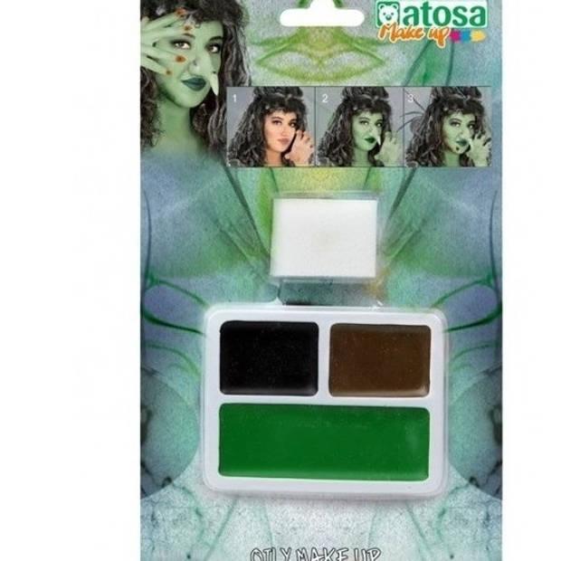 Schminkset horror bruin/zwart/groen - Schmink/makeup voor Halloween - Heksen make-up