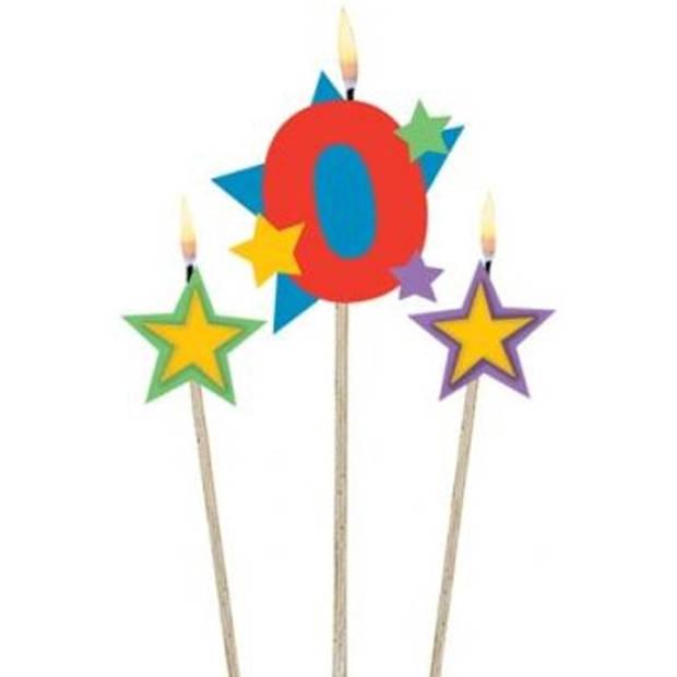 Amscan verjaardagskaarsjes 0 - Star 12,2/13,5 cm 3-delig