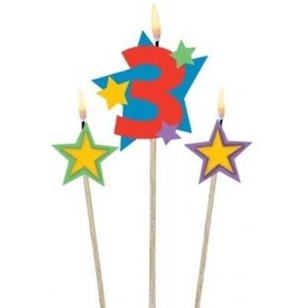 Amscan verjaardagskaarsjes 3 - Star 12,2/13,5 cm 3-delig