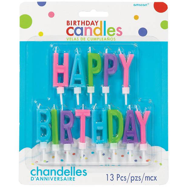 Amscan verjaardagskaarsjes Happy Birthday 5,3 cm 13 stuks