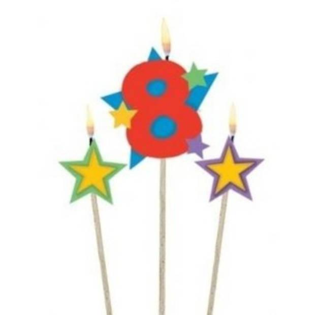 Amscan verjaardagskaarsjes 8 - Star 12,2/13,5 cm 3-delig