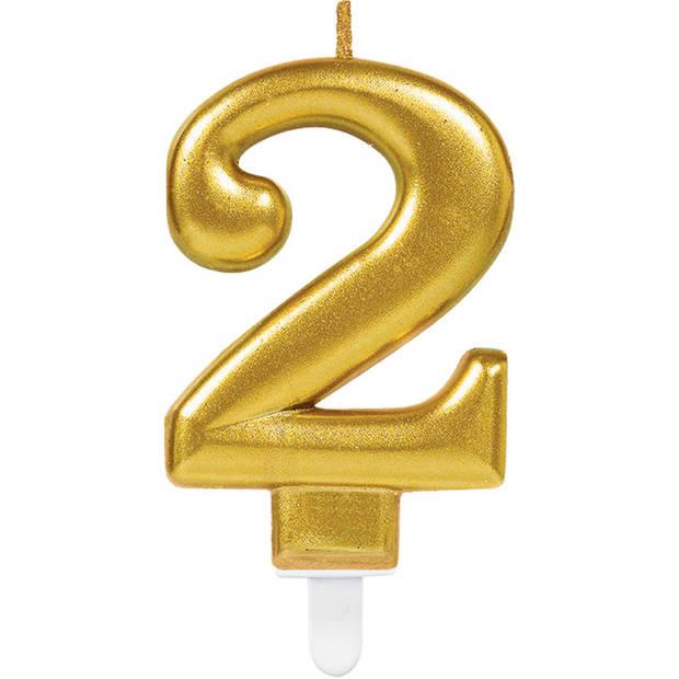 Amscan verjaardagskaars ''2'' goud unisex 9,3 cm