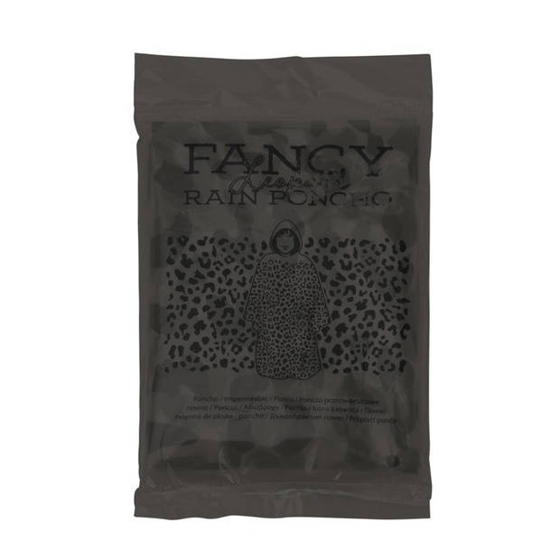 Free and Easy regenponcho met luipaardprint unisex grijs one size