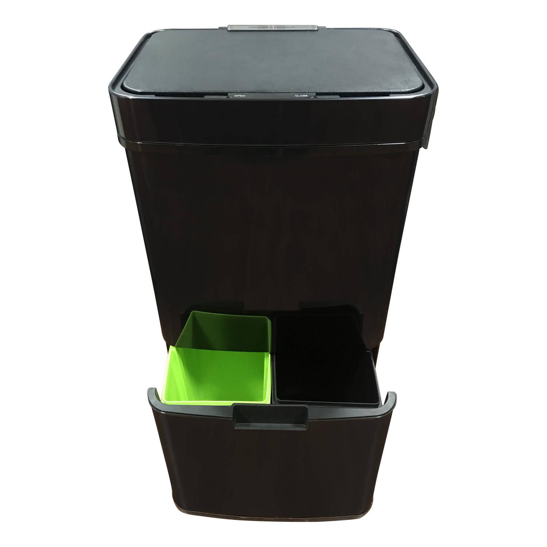 4cookz® Smart Waste Black Afvalscheidingsprullenbak Met Sensor 72 Ltr