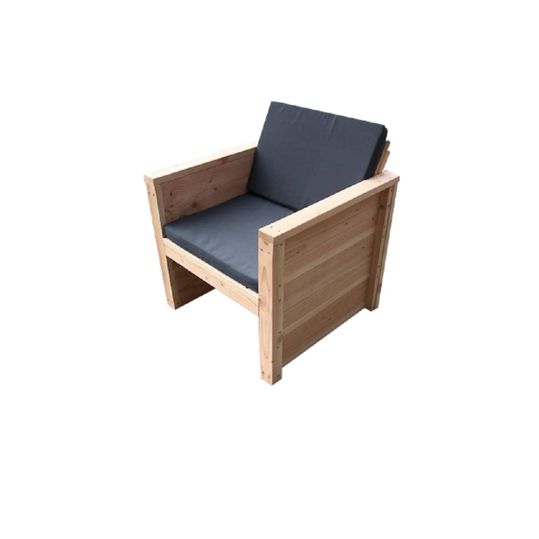 Wood4you - Tuinstoel Vlieland Douglas 65lx72hx57d Cm - Bouwpakket Met Kussens