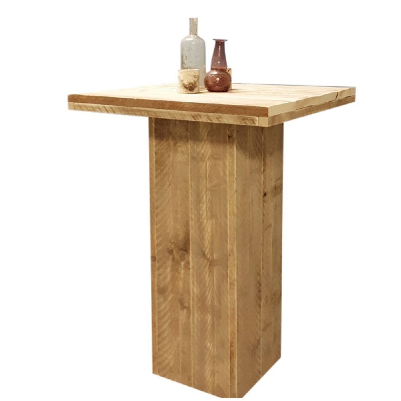 Wood4you - Bartafel Steigerhout Met Kolompoot 72x72 Cm