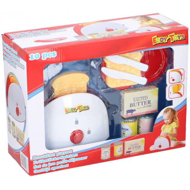 Eddy Toys ontbijt speelset rood/wit 10-delig