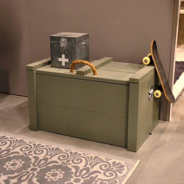 Speelgoedkist Army Green Steigerhout - Opbergkist80Lx50Hx50D cm
