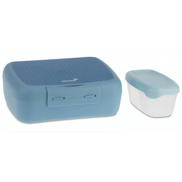 DBP broodtrommel met fruitbox 21 x 15 x 7 cm blauw