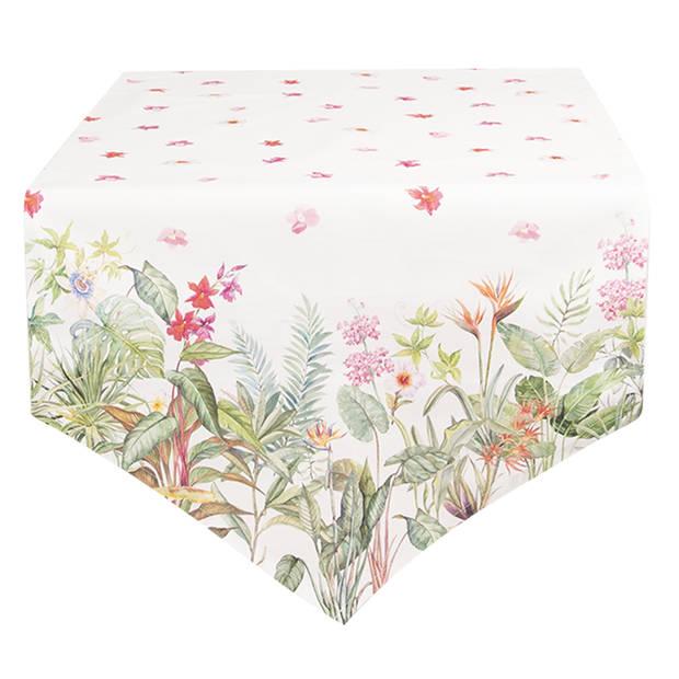 Clayre & Eef - tafelloper 50*160 cm - meerkleurig - 100% katoen - bloemen - JUB65
