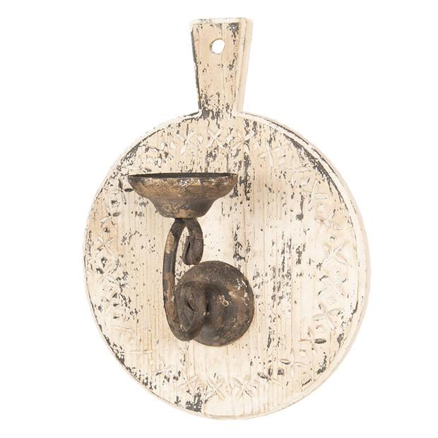 Kandelaar - 25*17*60 cm - wit - hout / ijzer - rond - broodplank - Clayre & Eef - 64365