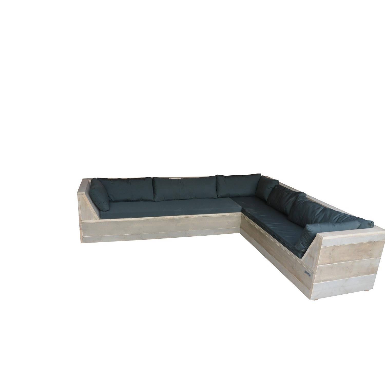 Wood4you - Loungeset 6 Steigerhout 200x220 Cm - Gl-vorm -Incl. Plofkussens